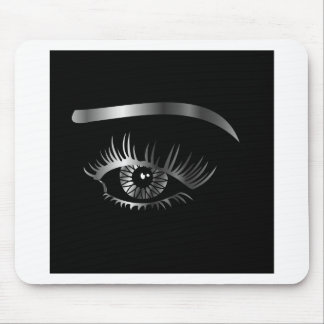 Silver eye with eyebrow and details inside mouse pad