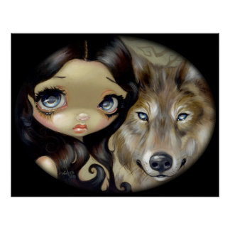 Silver Eyed Wolf ART PRINT gothic big eye fantasy