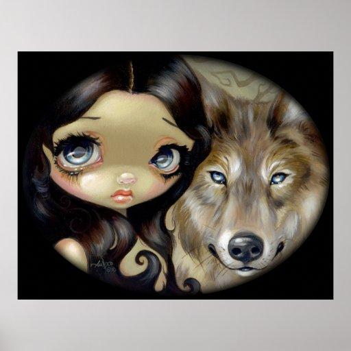 Silver Eyed Wolf ART PRINT gothic big eye fantasy