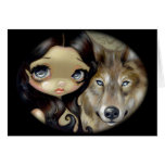 """""""Silver Eyed Wolf"""" Greeting Card"""