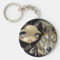 artsprojekt, art, fantasy, eye, eyes, wolf, wolves, dog, dogs, wolfdog, wolfdogs, girl, feral, werewolf, werewolves, native, silver, silvery, silver eye, silver eyed, silver eyed wolf, big eye, big eyed, jasmine, becket-griffith, becket, griffith, jasmine becket-griffith, jasmin, strangeling, artist, goth, gothic, fairy, gothic fairy, faery, fairies, faerie, fairie, Keychain with custom graphic design