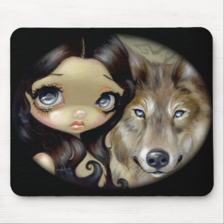 """Silver Eyed Wolf"" Mousepad"