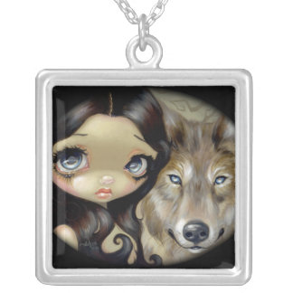 Silver Eyed Wolf NECKLACE gothic fantasy dog