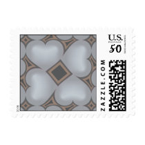 Silver fade hearts pattern postage