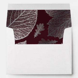 silver fall leaves burgundy vintage fall wedding envelope