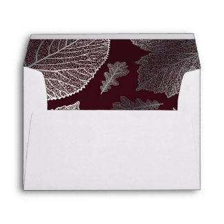 silver fall leaves burgundy vintage fall wedding envelope