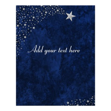 Beach Themed Silver Falling Stars Blue Poster