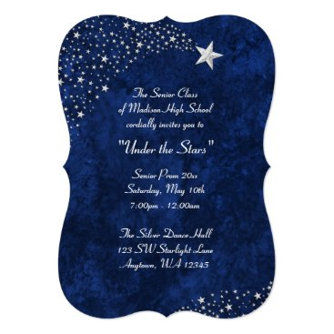 Beach Themed Silver Falling Stars Blue Prom Formal Invitations