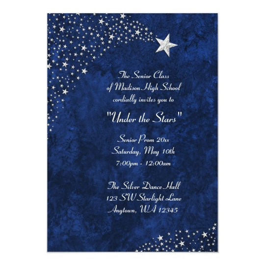 Silver Falling Stars Blue Prom Formal Invitations | Zazzle