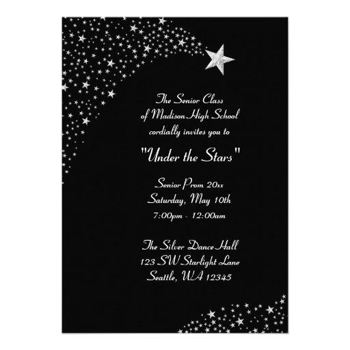 Silver Falling Stars Prom Formal Invitations 5 X 7