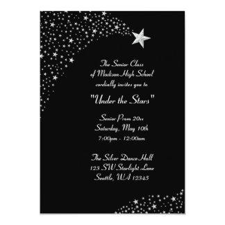 "Silver Falling Stars Prom Formal Invitations 5"" X 7"" Invitation Card"