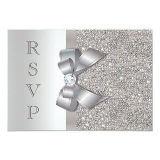 Silver Faux Bow & Diamonds RSVP Card