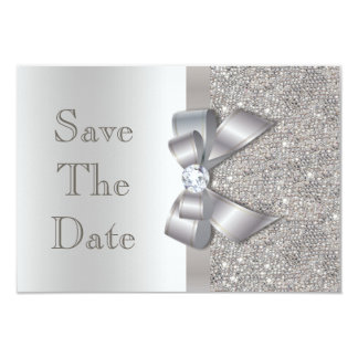 Silver Faux Bow & Diamonds Save The Date Card