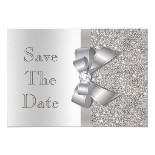 Silver Faux Bow & Diamonds Save The Date Announcements