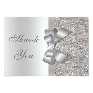 Silver Faux Bow & Diamonds Thank You 3.5x5 Paper Invitation Card