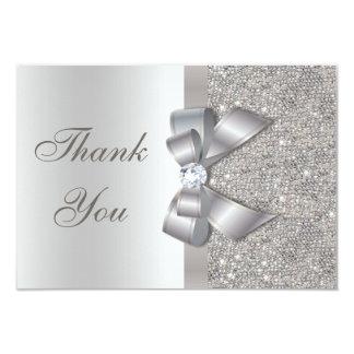 Silver Faux Bow & Diamonds Thank You Card