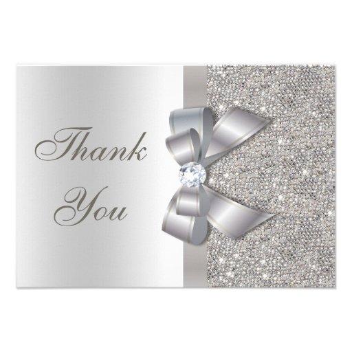Silver Faux Bow & Diamonds Thank You Personalized Invitation