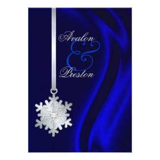 Silver Faux Diamond Snowflake Blue Silk Invitation