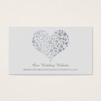 Silver Faux Foil Heart Wedding Website Card