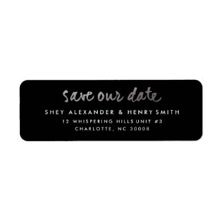Silver faux foil save the date address label
