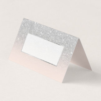 Silver faux glitter blush ombre wedding place card