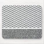 Silver Faux Glitter Chevron Mouse Pad