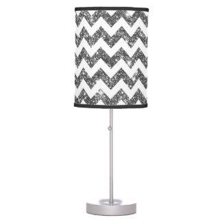 Silver Faux Glitter Chevron Pattern Girly Bling Desk Lamp