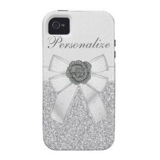 Silver Faux Glitter & Flower iPhone 4/4S Case