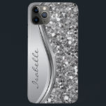 """Silver Faux Glitter Glam Bling Personalized Metal iPhone 11 Pro Max Case<br><div class=""""desc"""">This design is also available on other phone models. Choose Device Type to see other iPhone, Samsung Galaxy or Google cases. Some styles may be changed by selecting Style if that is an option. You may also transfer this design to another product or phone case. The glitter is simulated in...</div>"""