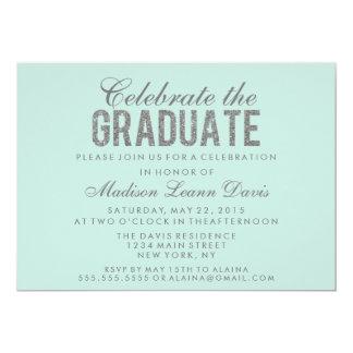 """Silver Faux Glitter Graduation Party Invitation 5"""" X 7"""" Invitation Card"""