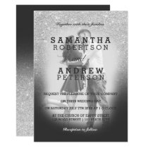 SIlver faux glitter grey ombre photo wedding Invitation