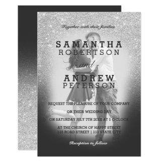 SIlver faux glitter grey ombre photo wedding Invitation