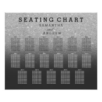 SIlver faux glitter grey ombre seating chart 17