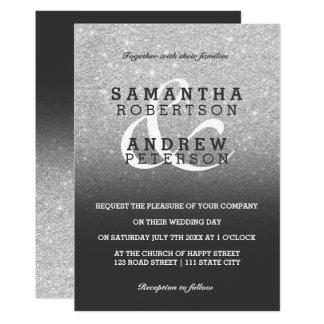 Silver faux glitter grey ombre wedding custom invitation