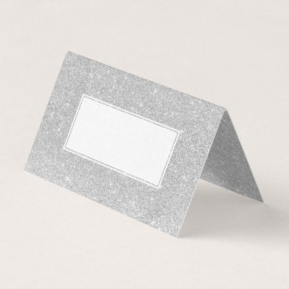 silver faux glitter grey ombre wedding place card