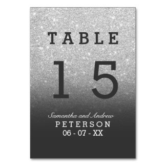 Silver faux glitter grey ombre wedding table table number