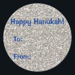 "Silver (faux) Glitter Hanukkah Gift Stickers<br><div class=""desc"">Questions? Regella@Rocketmail.com</div>"