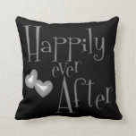 Silver Faux Glitter Happily Ever After Hearts Throw Pillows
