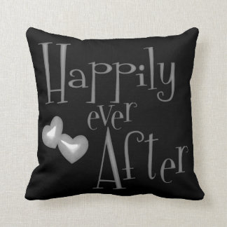 Silver Faux Glitter Happily Ever After Hearts Throw Pillow