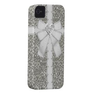 Silver Faux Glitter & Heart Jewel iPhone 4 Cases