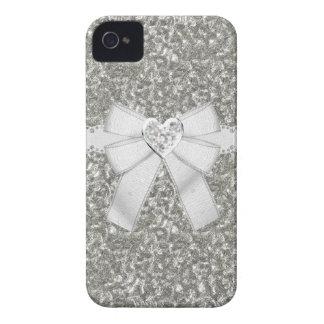 Silver Faux Glitter & Heart Jewel iPhone 4/4S Case