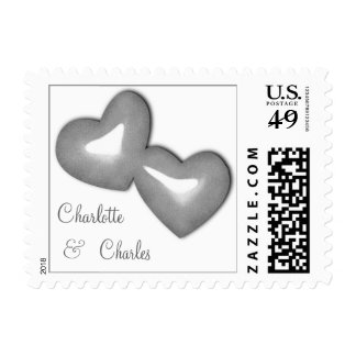 Silver Faux Glitter Hearts With Customizable Names Postage Stamp