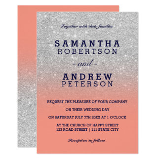Silver faux glitter navy blue coral ombre wedding card