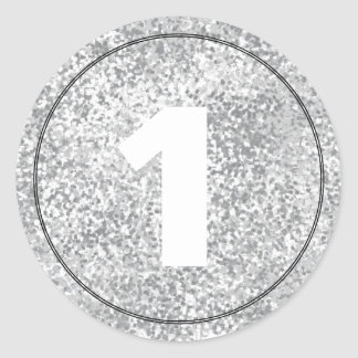 Silver Faux Glitter Number Text Template Stickers