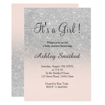 Toddler & Baby themed Silver faux glitter pink ombre girl baby shower card