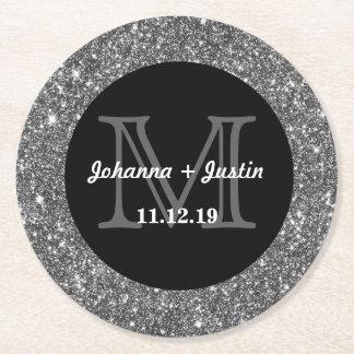 Silver Faux Glitter Shining Bling Wedding Monogram Round Paper Coaster