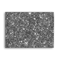 Silver Faux Glitter Shining Pattern Girly Envelope