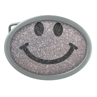 Silver faux glitter smiley face oval belt buckles