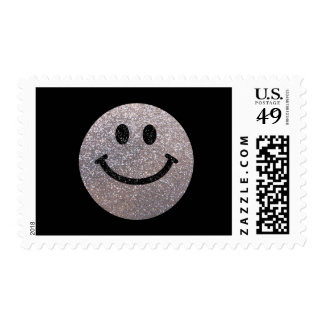 Silver faux glitter smiley face postage