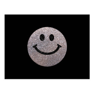 Silver faux glitter smiley face post card